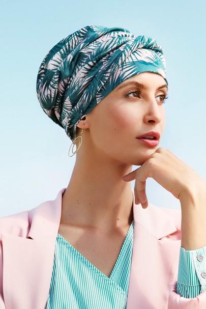 Emmy palme blade. Smuk hue med løst pandebånd fra Christine Headwear