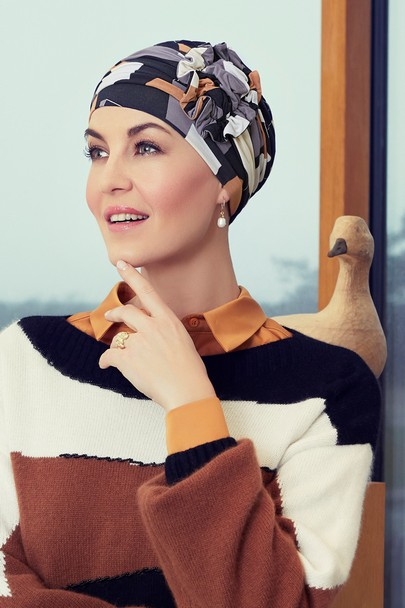 Lotus turban shapes of brown Christine headwear