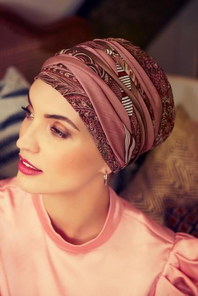 Scarlett boho turban set print Rosa